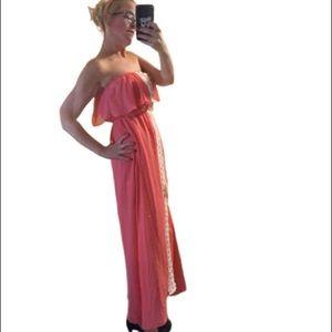 MAXI Dress Flowing Stretch Empire Waist Strapless